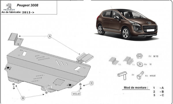 Engine metal shield - Peugeot 3008 (2013-)