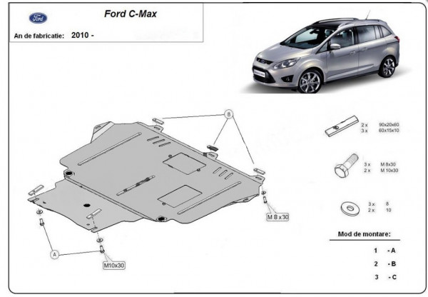 Engine metal shield - Ford C-Max (2010-)