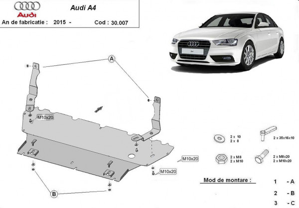 Engine metal shield - Audi A4 B9 8W (2015-)