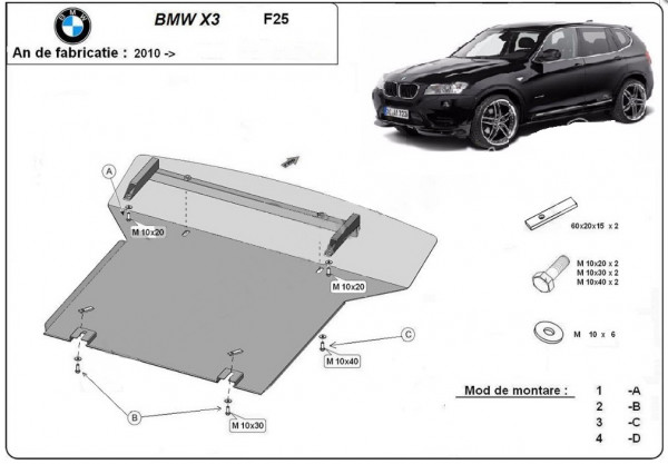Engine metal shield - BMW X3 (F25)