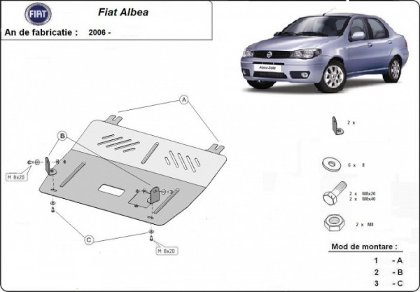 Engine metal shield - Fiat Albea (2006-)