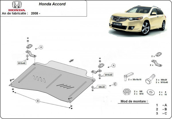 Engine metal shield - Honda Accord VIII (2011-)