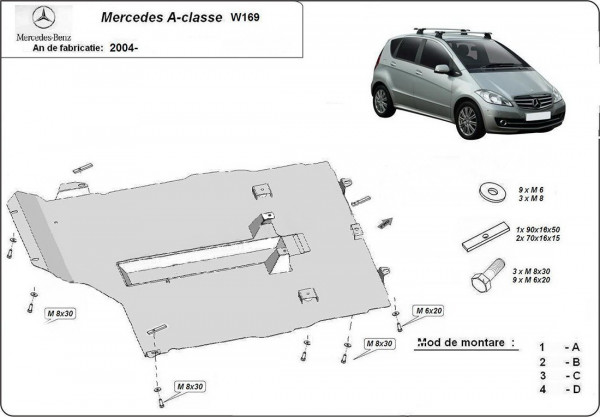 Engine metal shield - Mercedes A-Class W169 (2008-2012)