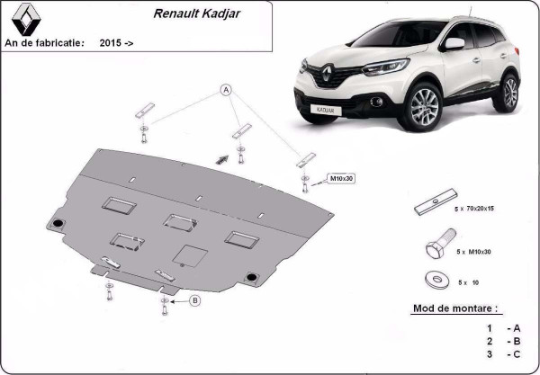 Engine metal shield - Renault Kadjar (2015-)