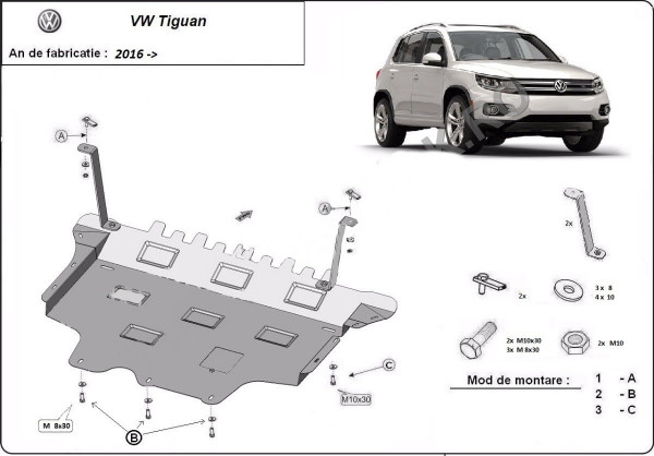 Engine metal shield - Volkswagen Tiguan II (2016-)