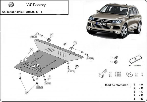 Engine metal shield - Volkswagen Touareg (2010-)