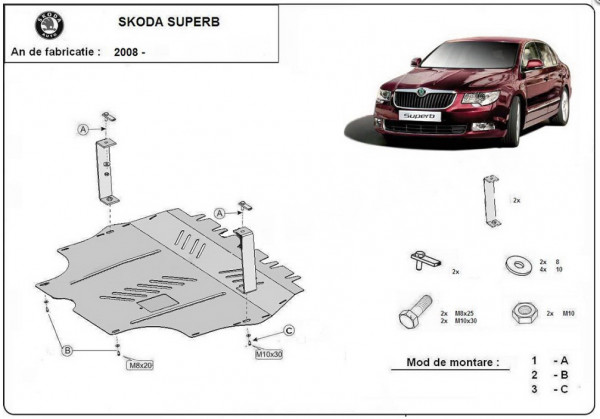 Engine metal shield - Skoda Superb (2013-)