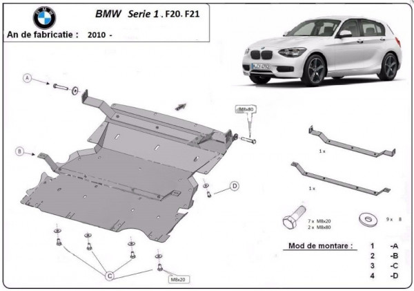 Engine metal shield - BMW 1er F20/F21 (2012-)
