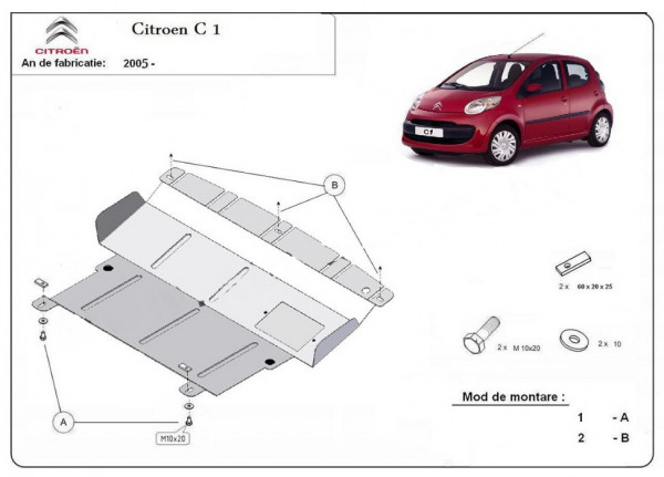 Engine metal shield - Citroen C1 (2012-)