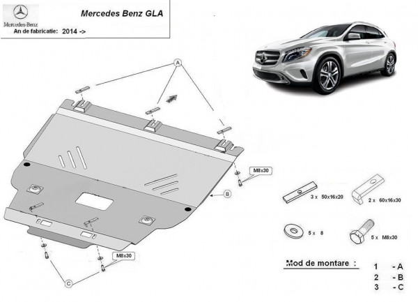 Engine metal shield - Mercedes GLA X156 (2013-)