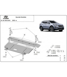 Engine metal shield - Hyundai Santa Fe III (2013-)