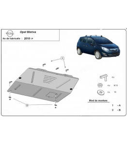 Engine metal shield - Opel Meriva B (2010-)